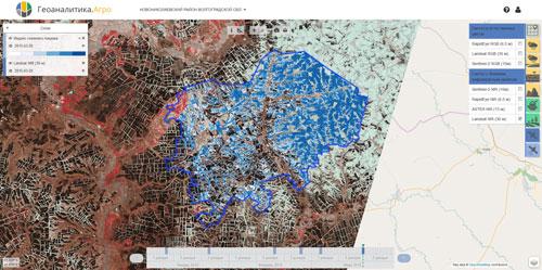 Рисунок 4. Отображение индекса NDSI в интерфейсе Геоаналитика